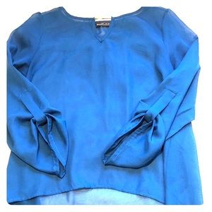 Tops - High Low Cerulean Blue Blouse (Size M)